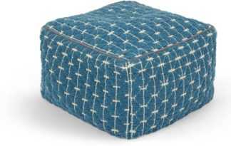 An Image of Maddox Geo Pouffe, Blue