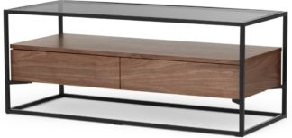 An Image of Jaxta Media Unit, Walnut and Smoked Glass