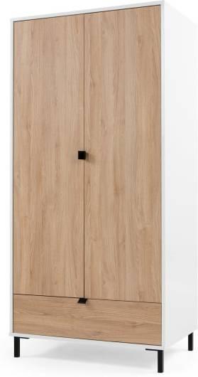 An Image of Latymer Wardrobe, Oak Effect and White Gloss