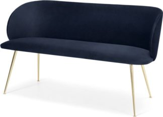 An Image of Adeline Dining bench, Royal Blue Velvet and Brass