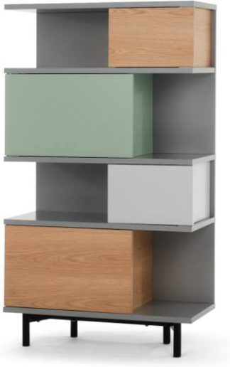 An Image of Fowler Tall Shelving Unit, Multicolour Oak