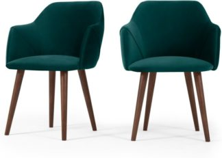 An Image of Set of 2 Lule Carver Dining Chairs, Seafoam Blue Velvet