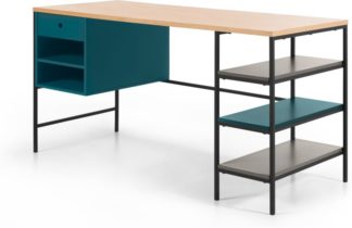 An Image of Arris Desk, Oak and Blue