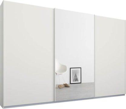 An Image of Malix 3 door 270cm Sliding Wardrobe, White frame,Matt White & Mirror doors , Premium Interior