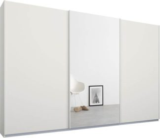 An Image of Malix 3 door 270cm Sliding Wardrobe, White frame,Matt White & Mirror doors, Standard Interior