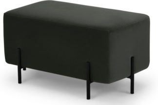 An Image of Eda Rectangle Footstool, Dark Anthracite Velvet with Black metal legs