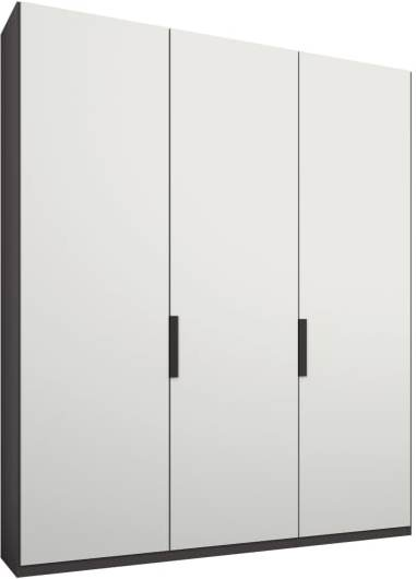 An Image of Caren 3 door 150cm Hinged Wardrobe, Graphite Grey Frame, Matt White Doors, Premium Interior