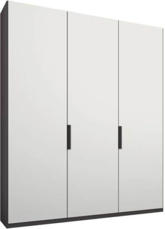 An Image of Caren 3 door 150cm Hinged Wardrobe, Graphite Grey Frame, Matt White Doors, Standard Interior