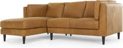 An Image of Lindon Left Hand Facing Chaise End Corner Sofa, Outback Tan Leather