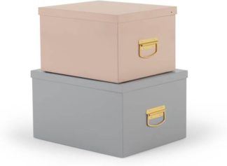 An Image of Holmes Set of 2 Metal Storage Boxes, Pink and Grey