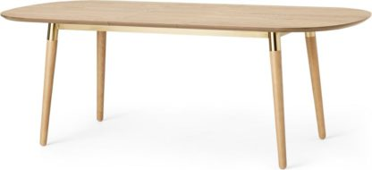 An Image of Edelweiss 6-8 Seat Extending Dining Table, Ash and Brass