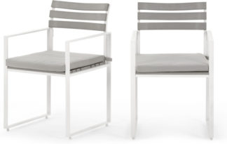 An Image of Catania Garden set of 2 Garden Dining Chairs, White And Polywood