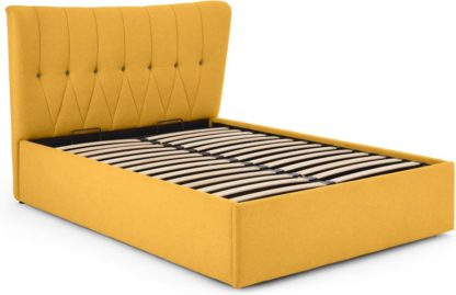 An Image of Charley King Size Bed with Ottoman storage, Yolk Yellow