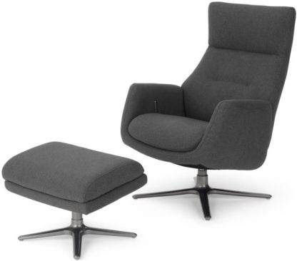 An Image of Paxton Reclining Accent Armchair and Footstool, Marl Grey