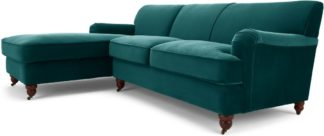 An Image of Orson Left Hand Facing Chaise End Corner Sofa, Seafoam Blue Velvet