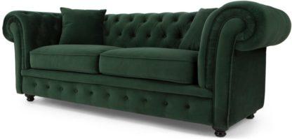 An Image of Branagh 2 Seater Chesterfield Sofa, Pine Green Velvet