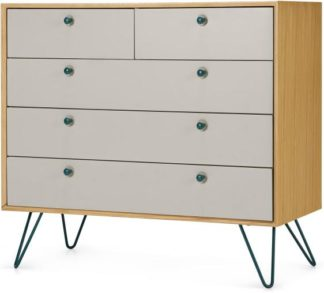 An Image of Dotty Multi Chest Of Drawers, Oak & Grey