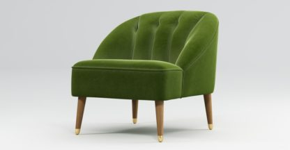 An Image of Custom MADE Margot Armchair, Spruce Green Cotton Velvet, Light Wood Brass Leg