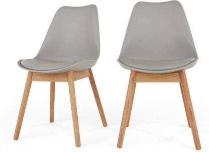 An Image of Set of 2 Thelma Dining Chairs, Oak and Grey