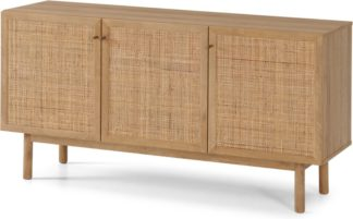 An Image of Pavia Sideboard, Natural Rattan & Oak Effect
