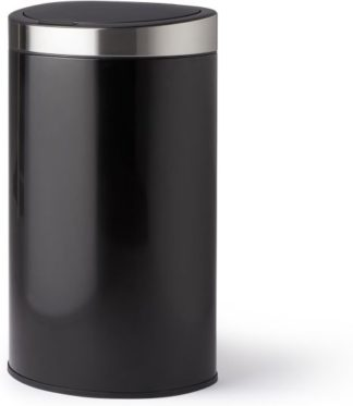 An Image of Horten 50L Sloped D Shape Touch Bin, Black