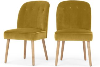 An Image of Set of 2 Margot Dining Chairs, Vintage Gold velvet and Light Wood
