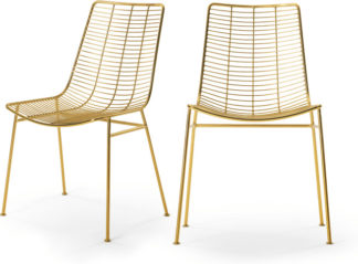 An Image of Set of 2 Marvel Dining Chairs, Brass