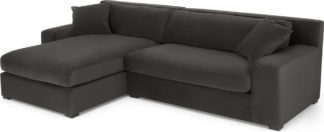 An Image of Delaney Left Hand Facing Chaise End Corner Sofa, Dark Pewter Velvet