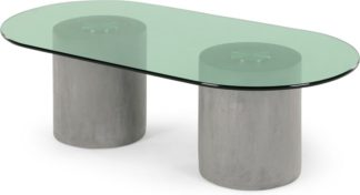 An Image of Calvin Coffee Table, Concrete, Brushed Stainless Steel and Green