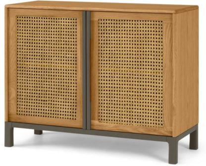 An Image of Reema Compact Sideboard, Oak & Grey