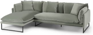 An Image of Malini Left Hand Facing Chaise End Sofa, Sage Green Velvet