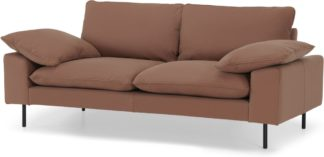 An Image of Fallyn Large 2 Seater Sofa, Nubuck Brown Leather