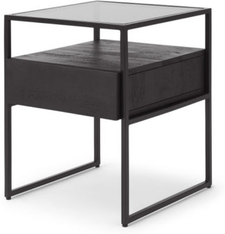 An Image of Kilby Bedside Table, Black Stain Mango Wood