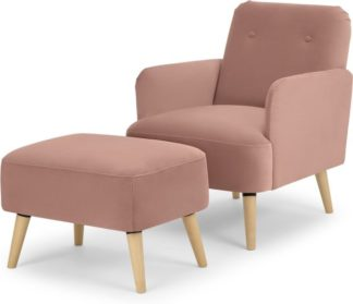 An Image of Elvi Accent Armchair & Footstool, Vintage Pink Velvet