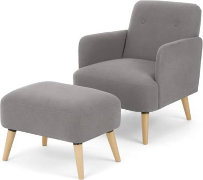An Image of Elvi Accent Armchair & Footstool, Marshmallow Grey