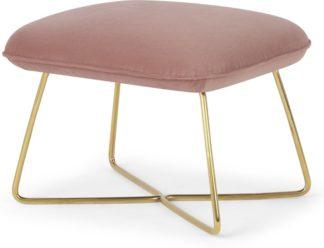 An Image of Stanley Footstool, Velvet Vintage Pink