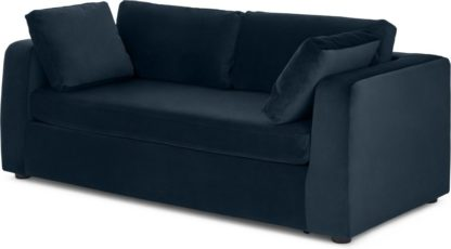 An Image of Mogen 3 Seater Sofa Bed, Sapphire Blue Velvet