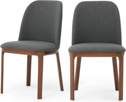 An Image of Set of 2 Nuno Dining Chairs, Walnut and Marl Grey