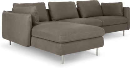 An Image of Vento 3 Seater Left Hand Facing Chaise End Sofa, Texas Grey Leather