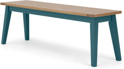An Image of Ralph Large bench, Oak and Teal