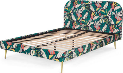 An Image of Abel King Size Bed, Curator Floral Print & Brass Legs