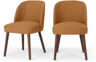 An Image of Set of 2 Swinton Dining Chairs, Orleans Marmalade Orange & Dark Stain