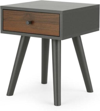 An Image of Larsen Bedside Table, Walnut Effect & Grey