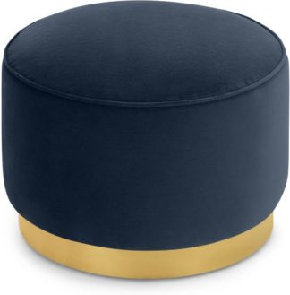 An Image of Hetherington Large Brass Base Pouffe, Royal Blue Velvet