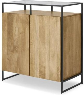 An Image of Kilby Compact Sideboard, Light Mango Wood and Glass