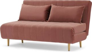 An Image of Bessie Large Double Sofa Bed, Blush Pink Velvet