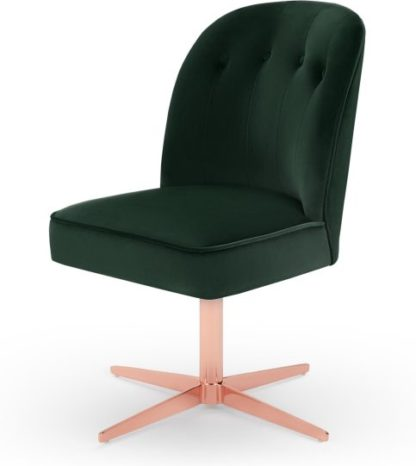 An Image of Margot Office Chair, Pine Green Velvet and Copper
