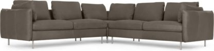 An Image of Vento 5 Seater Corner Sofa, Texas Grey Leather