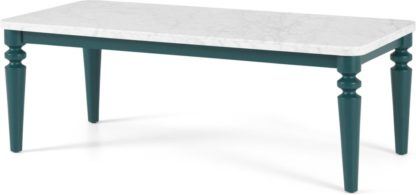 An Image of Betty Coffee Table, Marble & Teal