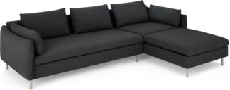 An Image of Vento Right Hand Facing Chaise End Sofa Bed, Sterling Grey